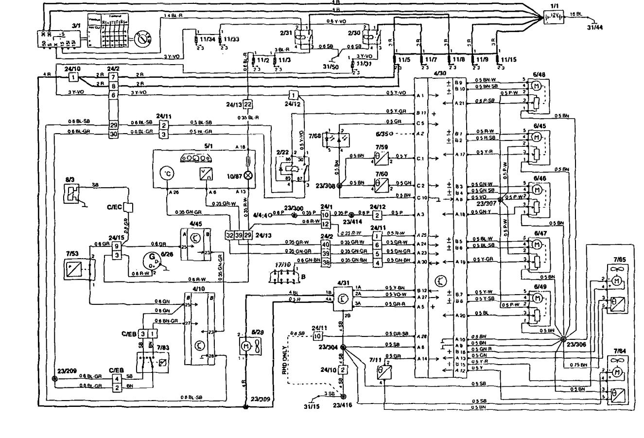 volvo 850 1994 electrical wiring diagram