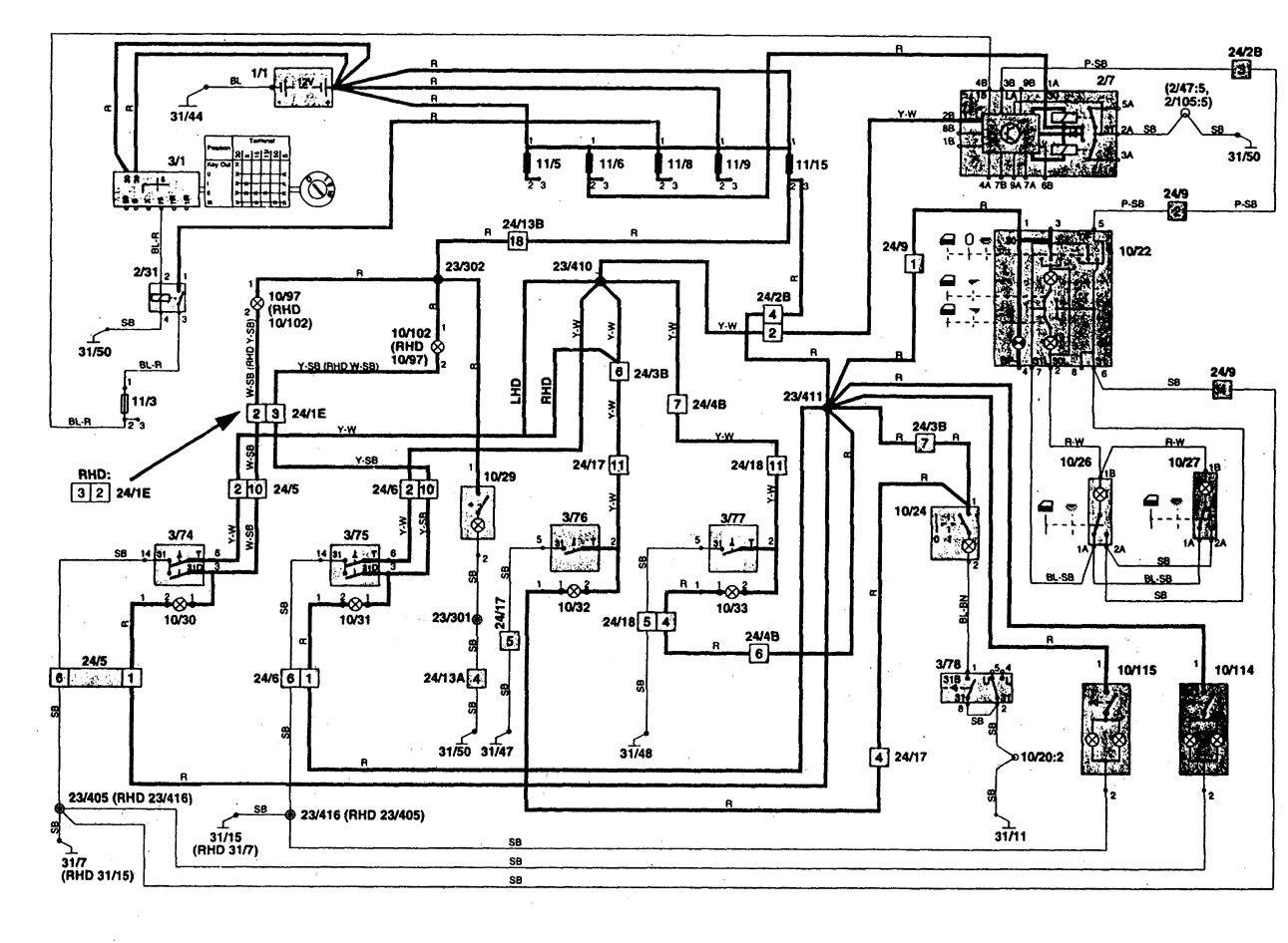 volvo 960 1997 wiring diagrams