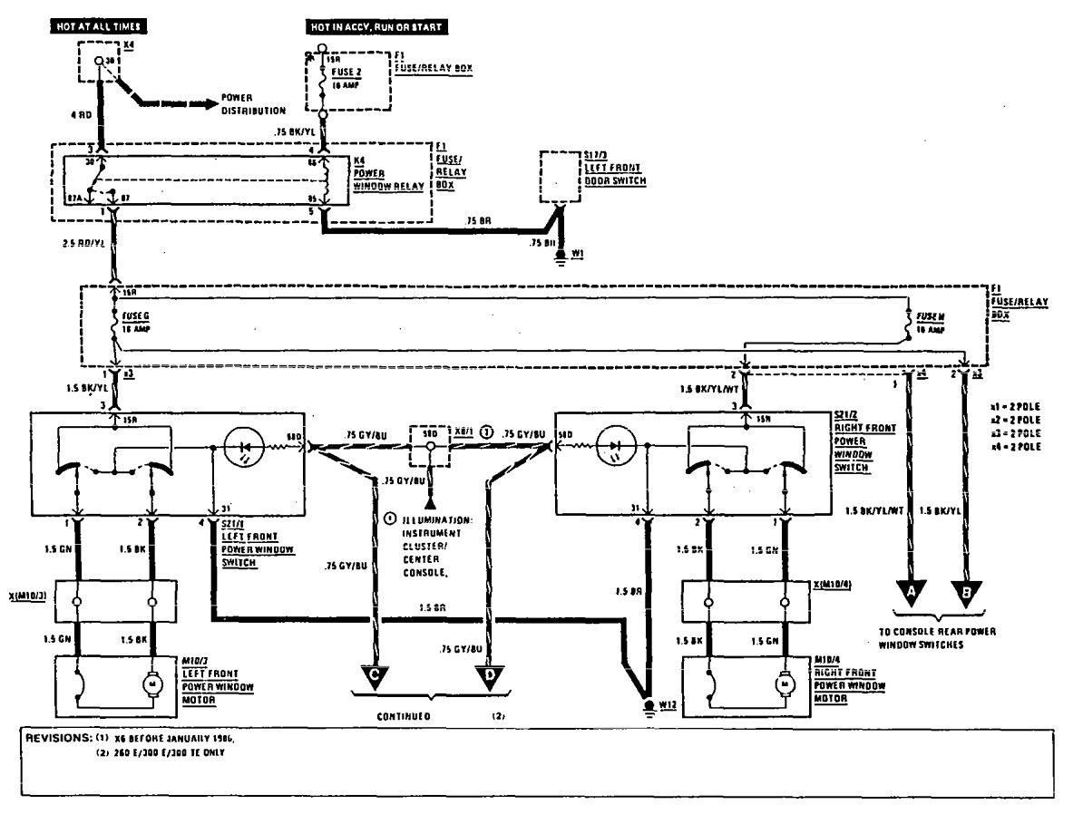 mercedes benz power windows wiring diagram