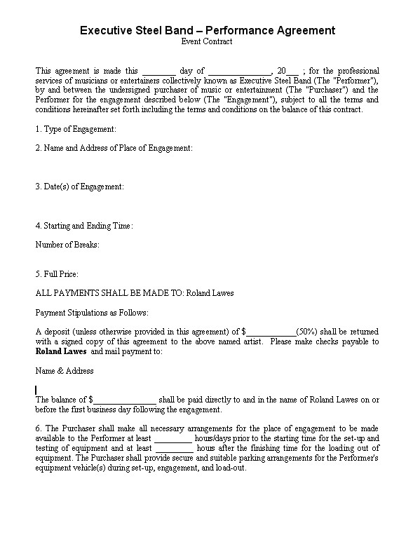 Band Contract Template Standard Band Contract Template Band - parking agreement template
