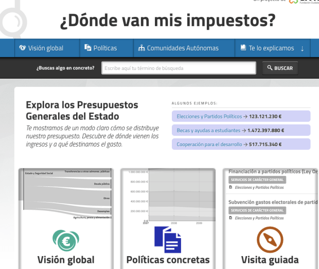 Website of the project Dónde van mis impuestos.