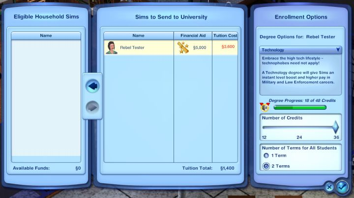 The Sims 3 University Life Enrolling, Credit Hours and SUA Test