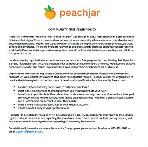 Peachjar E-flyer / PeachJar Community FREE Flyer Policy