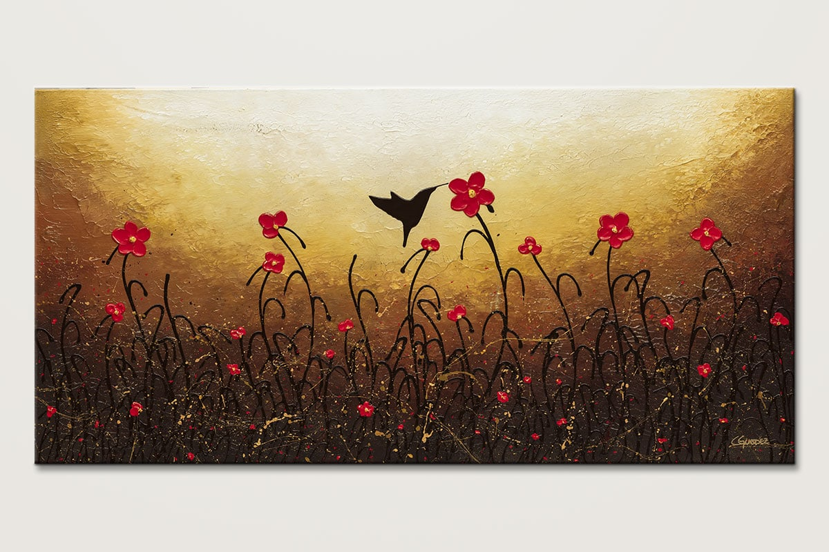 Abstract Flower Art Painting Lovely Bird Red Flower