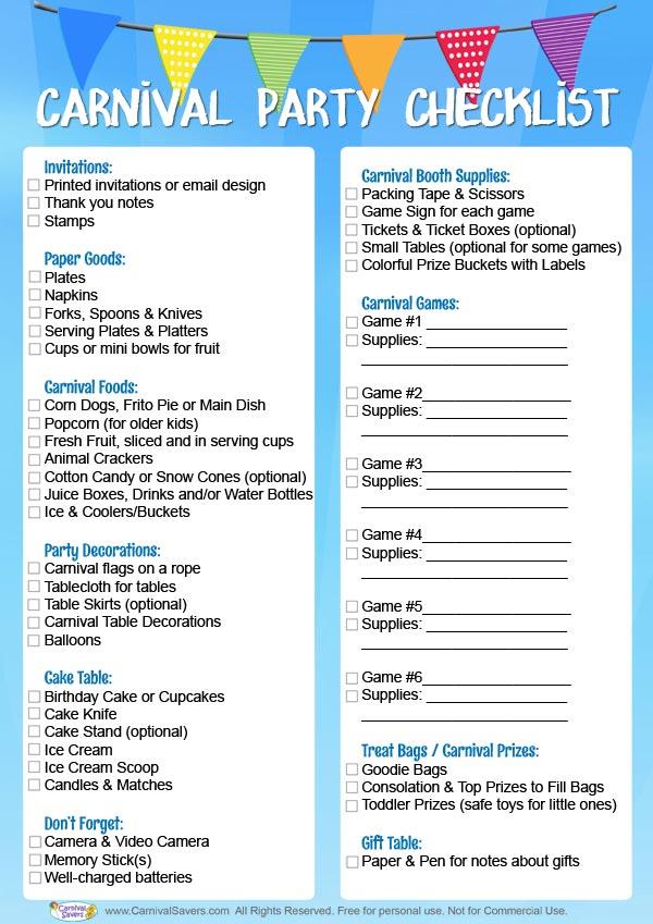 Carnival Birthday Party Checklist