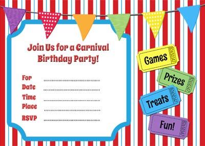 Free Carnival Themed Printable Invitation