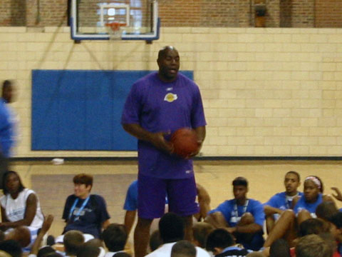 magic johnson at summer youth basketball camp