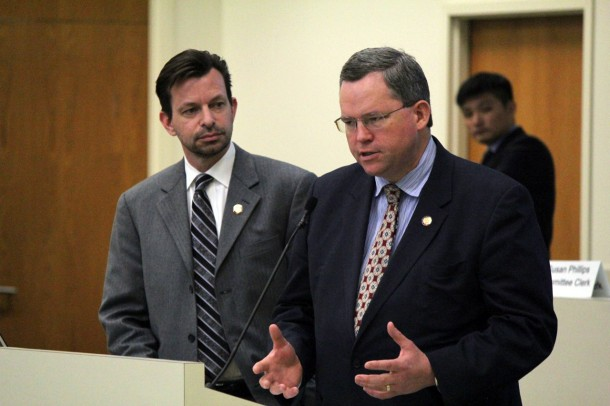 Reps. Tim Moffitt and Nathan Ramsey, both Asheville-area Republicans, answered questions Thursday, March 14, 2013, about proposed legislation that would change Asheville's powers. Kirk Ross/Carolina Public Press