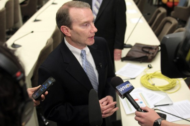 Duke Energy North Carolina State President Paul Newton talks to reporters after a legislative hearing Tuesday concerning the state's coal ash sites. Kirk Ross/Carolina Public Press