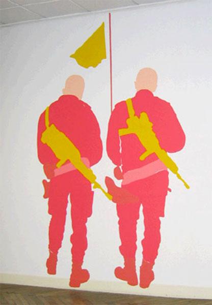 Soldats-roses-peinture-murale-pandele