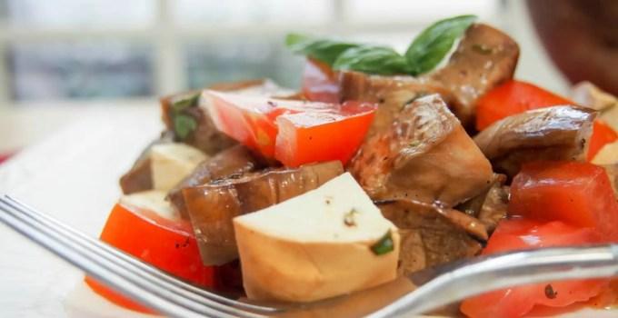 Marinated eggplant, tomato and smoked mozzarella salad