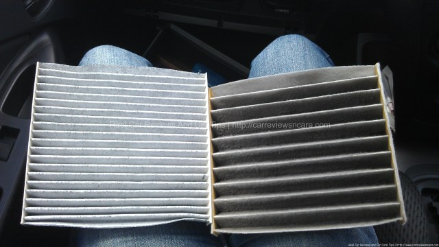 New (left) and used cabin air filter for Toyota Vios
