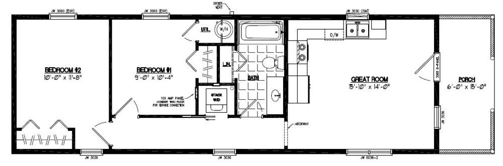 14x40 cabin floor plans