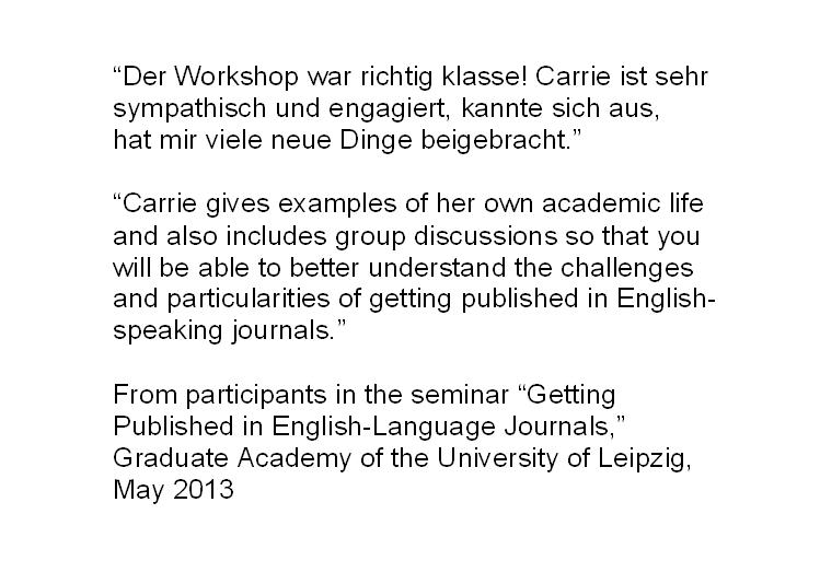 Academic Writing and Publishing in English (wissenschaftliches - academic writing examples