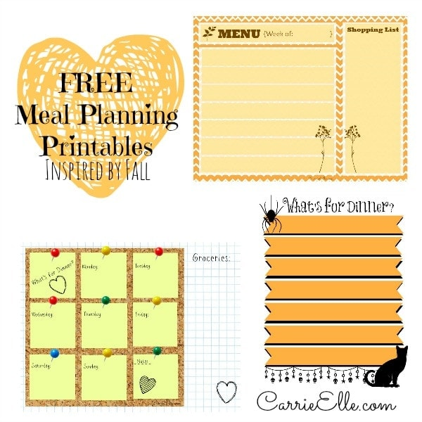 Free Meal Planning Printables (Inspired by Fall) - Carrie Elle