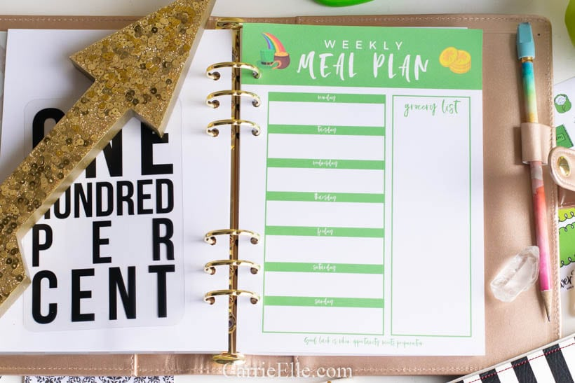 Printable Weekly Meal Planner Template for March - Carrie Elle