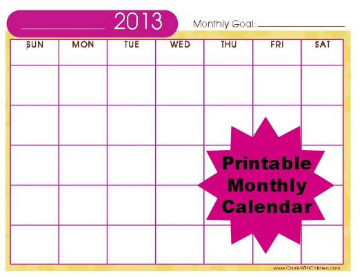 Free Stuff 2013 Printable Monthly Calendar Carrie with Children - free printable monthly calendar