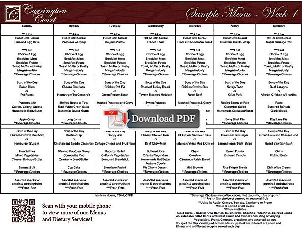 Carrington Court Assisted Living Assisted living menus and sample - daycare meal plan