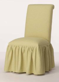 Rolled Back Dining Room Chair with Gathered Skirt