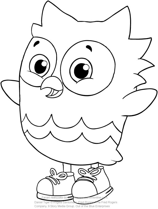 Disegno di Gu il gufo amico di Daniel Tiger da colorare