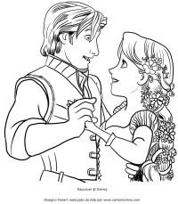 Disegno di Rapunzel che balla con Flynn Ryder da colorare
