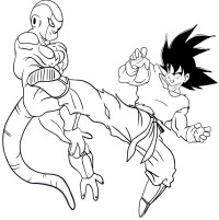 Goku fights against Freezer coloring page