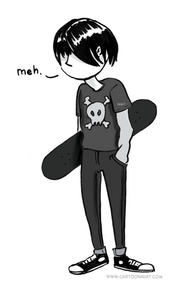 Political Anime Girl Wallpaper Emo Kid Skater Holding Skateboard Says Meh Cartoon