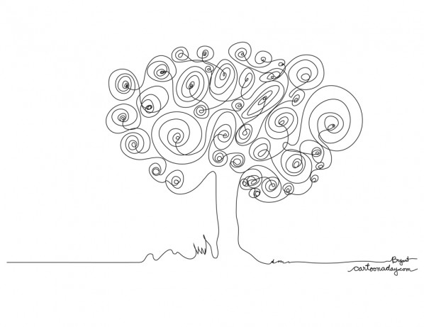 Continuous Line Drawing Tree ❤ Cartoon - line drawing