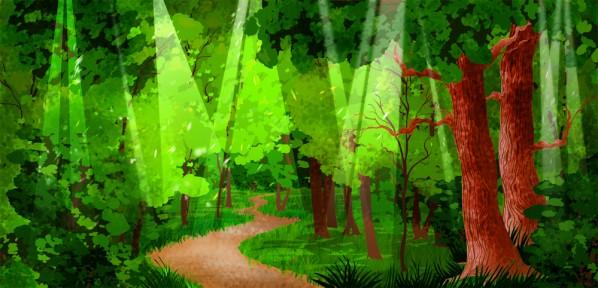 Cute Cartoon Fairy Wallpaper Forest Path Illustrated Cartoon
