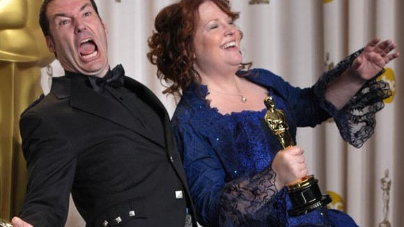 Mark Andrews and Brenda Chapman with their Oscar for best animated feature