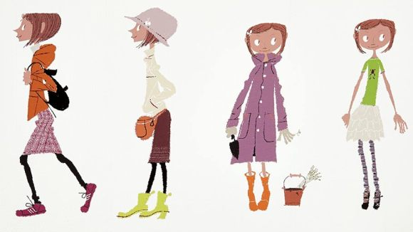 Concept lithograph created from a Tadahiro Uesugi original watercolor painting that showcases his concepts for Coraline's many outfits used throughout the film.