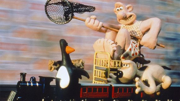 "Wallace and Gromit in ""The Wrong Trousers"" (1993)."