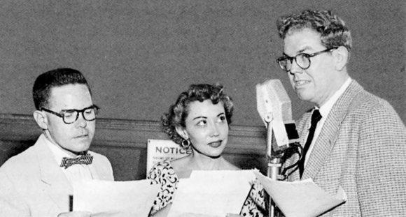 June Foray with Daws Butler (left) and Stan Freberg.