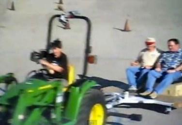 John Lasseter in a Tractor