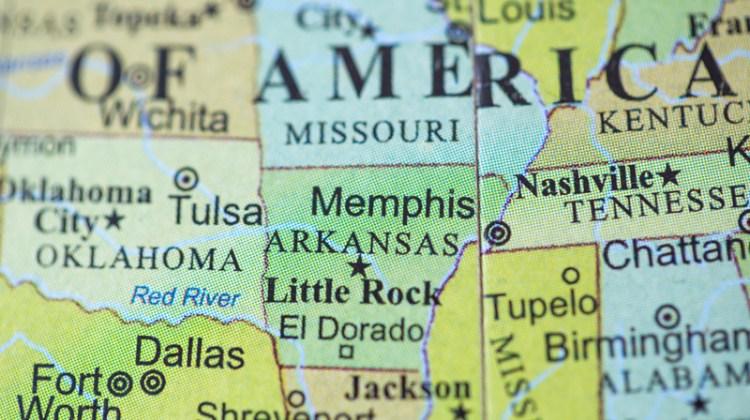 Map, Arkansas, Little Rock, El Dorado, Nashville, Tennessee, symbol.