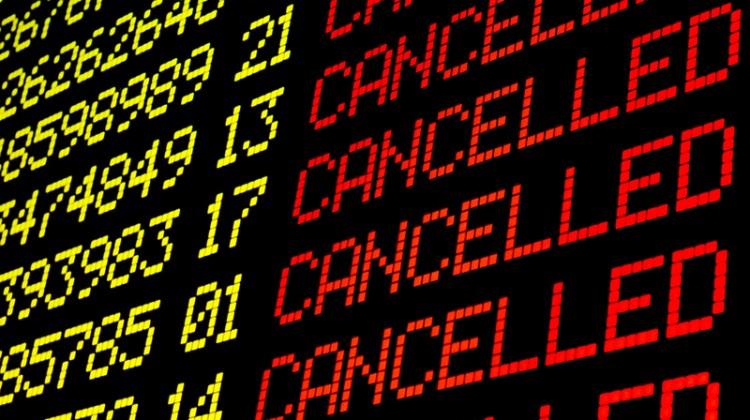 cancelled, flights, arrival departure board, cancellation, cancel, digital display, journey