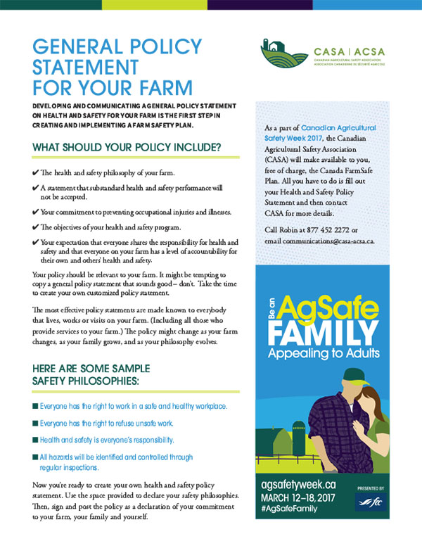 General Policy Statement for Your Farm \u2013 Canadian Agricultural