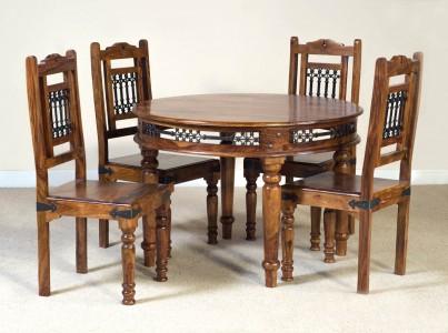 Jali sheesham round 4 seater dining set casa bella