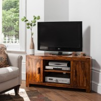 Solid Sheesham Wood Television Stand | Corner TV Unit ...