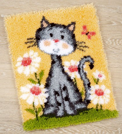 Cat With Flowers Latch Hook Rug From Vervaco Children