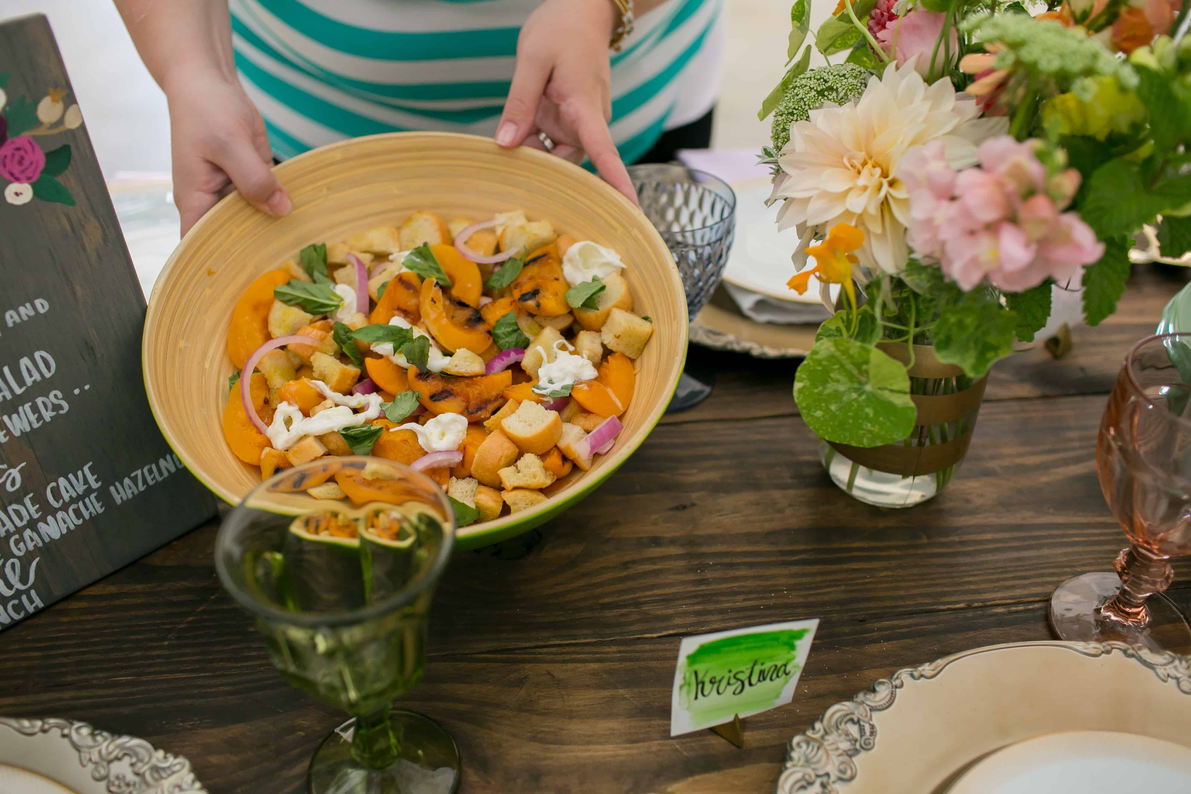 ... to a #SummerFloralParty: Grilled Peach and Burrata Panzanella Salad