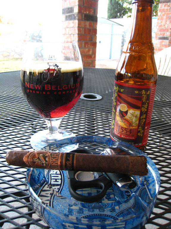 Gurkha Shaggy Maduro and New Belgium 1554