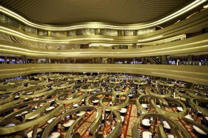 Above the casino floor inside Marina Bay Sands