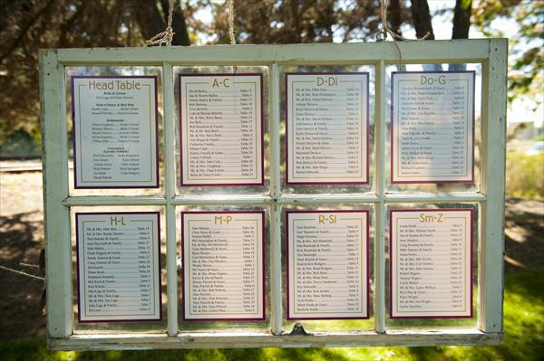 Table and Seating Charts @ Mt Hood Organic Farms Weddings - seating charts for weddings