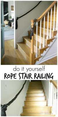 DIY Rope Stair Railing - Cassie Bustamante