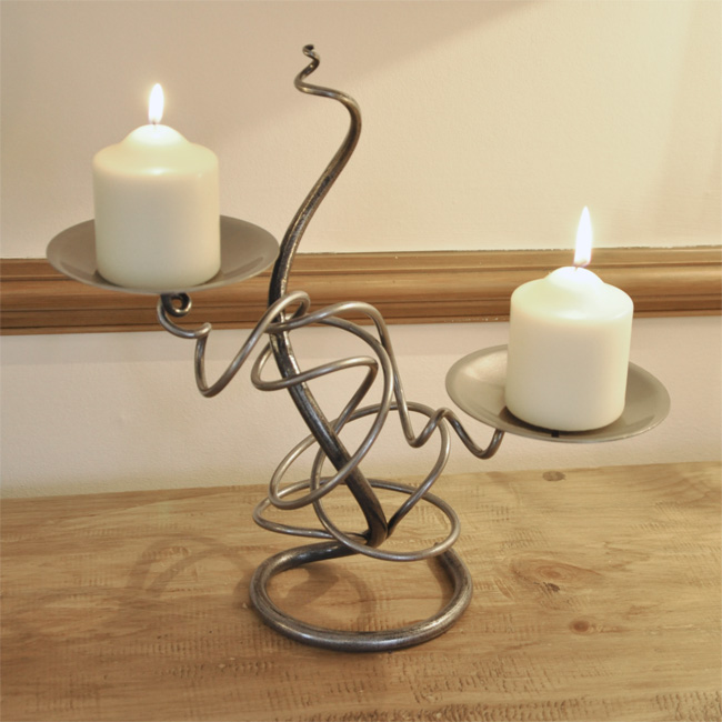 Hand Forged Double Tangle Candle Holder Homeware Cast In