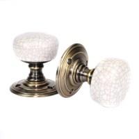 Porcelain Door Knobs - Crackled Ivory Brass Door Knobs ...