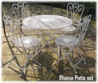 WROUGHT IRON SHABBY CHIC GARDEN PATIO FURNITURE SET RH1