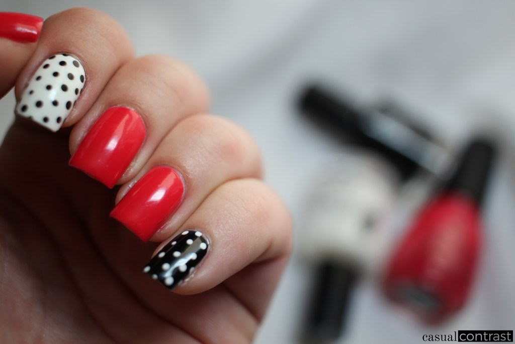 Black & white & red nail art manicure • Casual Contrast