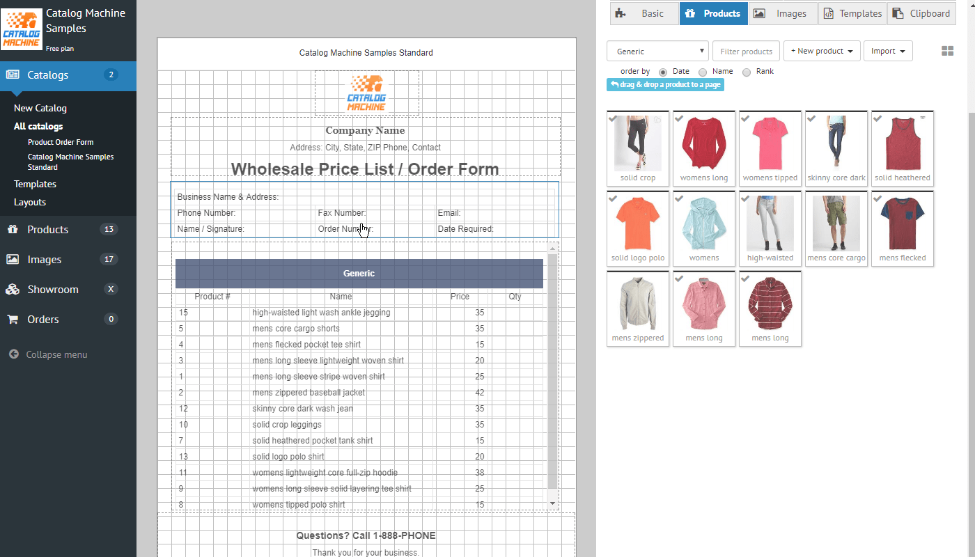 free online order form template